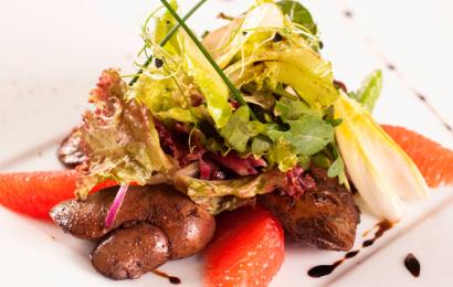 Салат з курячою печінкою і грейпфрутом